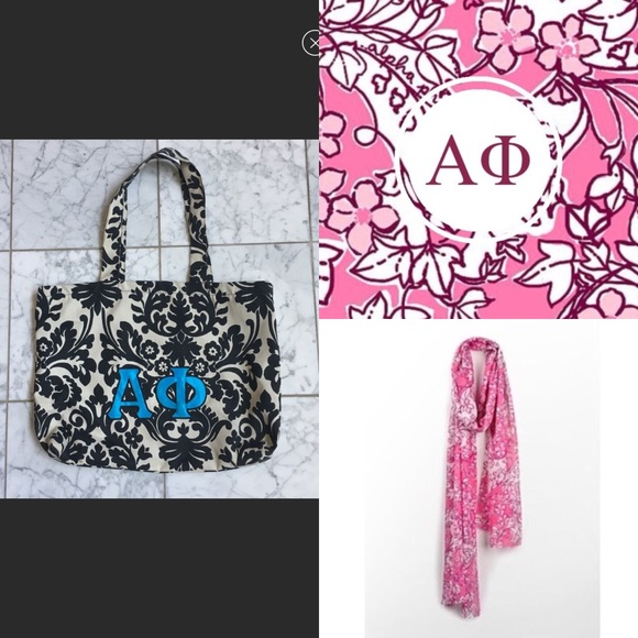 Lilly Pulitzer Accessories - Alpha Phi Lilly Pulitzer Scarf   bag bundle 2ab49b0bfc